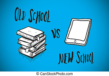 Composite image of old school vs new school doodle - Old...