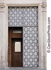 Open metal door - Open old metal iron entrance door of...