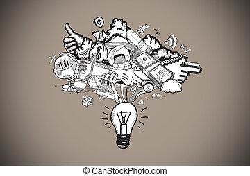 Composite image of ideas doodle - Ideas doodle against grey...