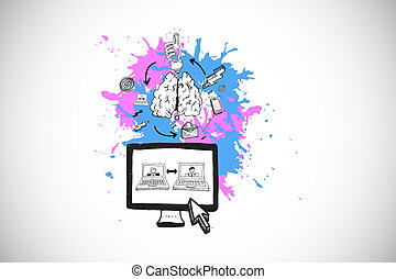Composite image of video chat concept on paint splashes -...