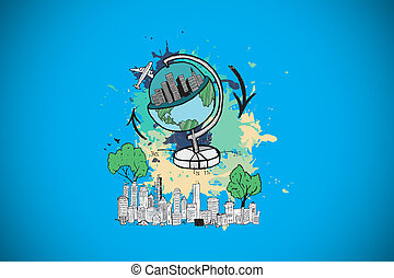 Composite image of global tourism concept on paint splashes...
