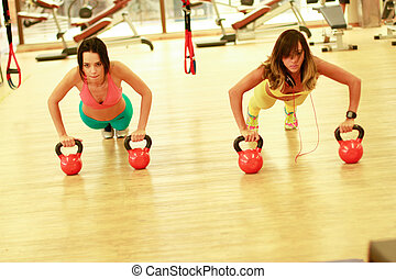 fitness - Fitness woman exercising crossfit holding...