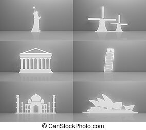 Collection of worlds most famous landmarks