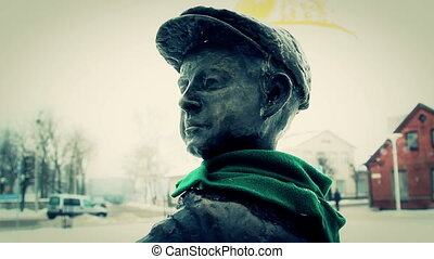 The head statue on the park - The closer look of the head of...