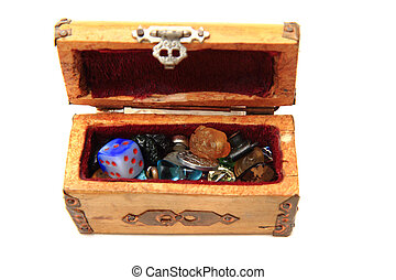 wooden box with small toys isolated on the white background