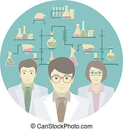 Scientists in the Chemical Lab - Flat conceptual...