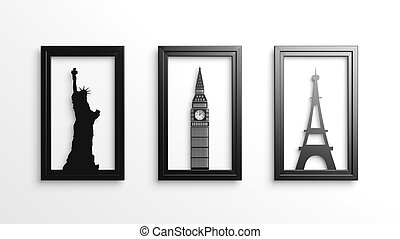 Set of worlds most famous landmarks in frames isolated