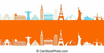 Worlds most famous landmarks colorful icons in a row