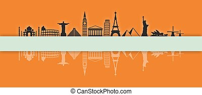 Worlds most famous landmarks icons in a row