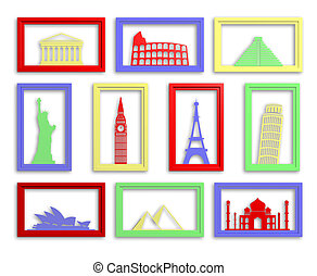 Colorful collection of worlds most famous landmarks in frames