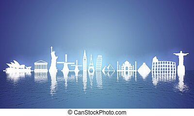 Worlds most famous landmarks icons on water with reflection