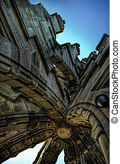 Detailed Architecture at top of Wallace Monument - Shot of...