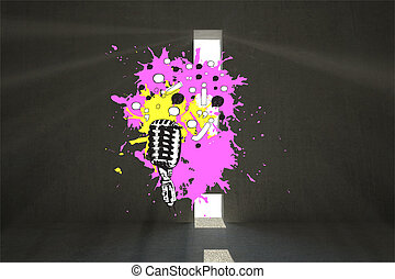 Composite image of microphone on paint splashes - Microphone...