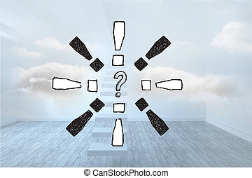 Composite image of question mark do - Question mark doodle...