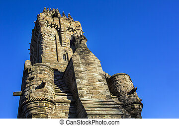 Side view of the Wallace Monument Landmark in Scotland