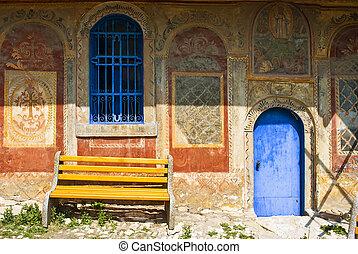 bench in monastery - Preobrajenski Monastery near Veliko...