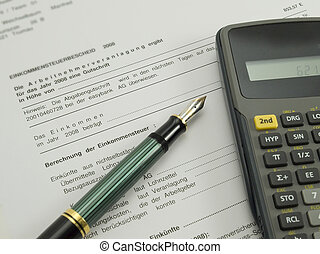 Tax Refund Document With Pen And Calculator