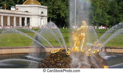 famous petergof Samson fountain in St Petersburg Russia