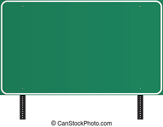 Green American traffic sign - Blank highway green american...