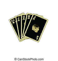 royal flush - detailed royal flush on white background