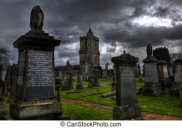 Stirling Castle Graveyard on a  Gloomy evening