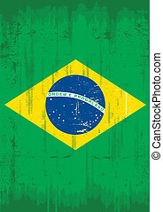 Brazilian vertical grunge flag - Brazilian grunge flag for a...