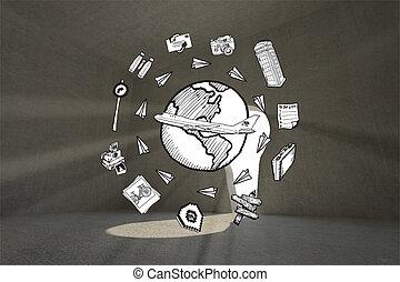 合成物,  doodles, 圖像, 全球, 旅行