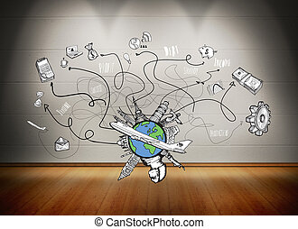 Composite image of business and global travel doodles -...