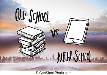 Composite image of old school vs ne - Old school vs new...
