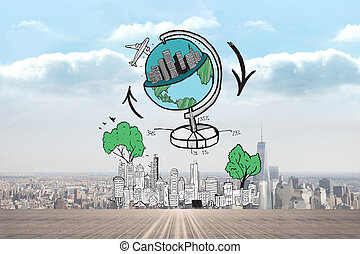 Composite image of global travel doodle over cityscape -...