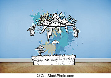 Composite image of bankruptcy concept on paint splashes -...