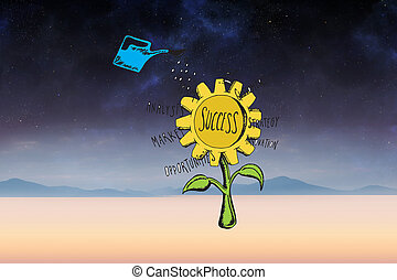 Composite image of success sunflower doodle - Success...