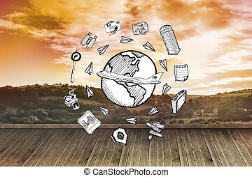 Composite image of global travel doodles - Global travel...