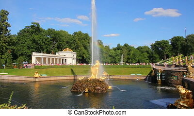 Closing ceremony of the fountains in the park Peterhof -...