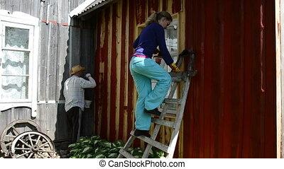 painter man brush wall