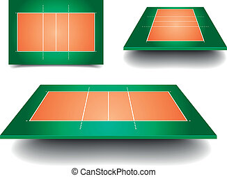 volleyball court set - detailed illustration of volleyball...