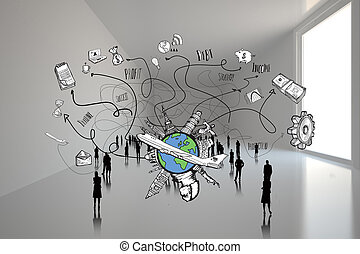 Composite image of business and glo - Business and global...