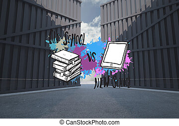 Composite image of old school vs new school on paint splashes