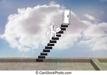 Composite image of businessman climbing the stairs to door -...
