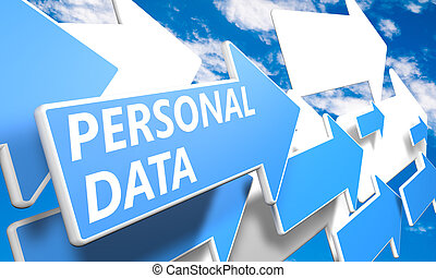 Personal Data 3d render concept with blue and white arrows...