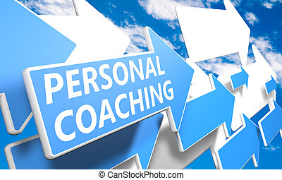 Personal Coaching 3d render concept with blue and white...