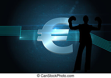 Composite image of euro sign on technical background
