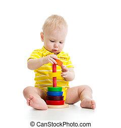 赤ん坊, 男の子, ピラミッド, 遊び, おもちゃ