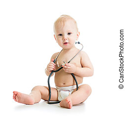 cute baby with stethoscope in hands
