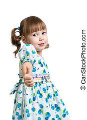 女の子, 子供, 提示, の上, 親指