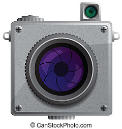Compact camera with a lens.