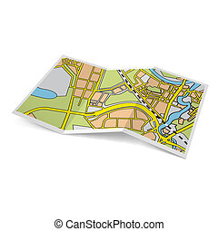 Map booklet - Illustration of city map booklet on white...