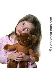 Little girl with teddy bear - Little girl holding a teddy...