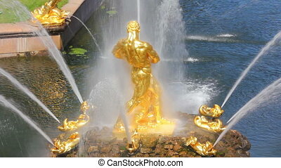 famous petergof Samson fountain in St. Petersburg Russia