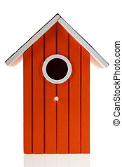 Orange bird house isolated over white background